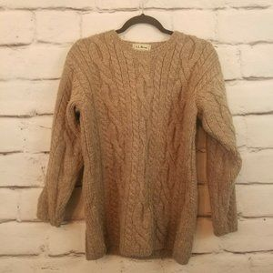 LL Bean Vintage Fisherman Sweater Cable Knit